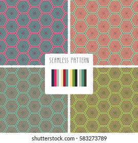 Set Of Colorful Fashion Print Geometric Poligonal Pattern
