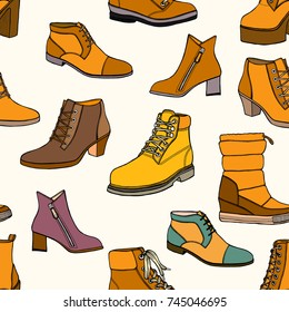 Set of Colorful fashion women's high heel shoes,boots seamless pattern.Casual and festive isolated shoes.Autumn,winter,spring background. For Backdrop,fabric,Wallpaper.Fashion illustrations.Vector.