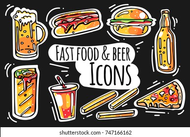 Set of colorful fast food and beer sketched icons. Collection of hand drawn stickers with street food meal. Design elements for logo, menu, ads, promo poster or banner. Isolated vector EPS 10.