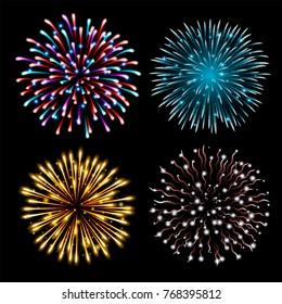 Set of colorful fireworks. Set of festive patterned salute bursting in various shapes against black background. Bright decoration Christmas card,New Year celebration, festival. Vector illustration.