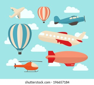 Set of colorful flat air transports