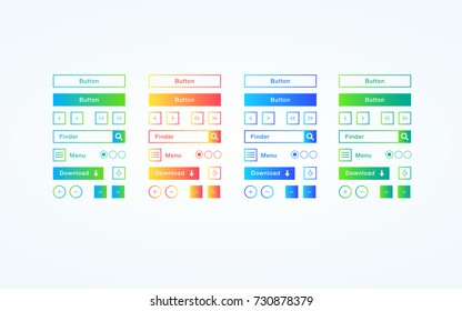 Set of colorful flat buttons with gradient for websites