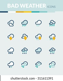 Set of colorful flat icons about the weather. Bad weather