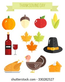 Set of colorful flat thanksgiving elements: pumpkin, maple leaves, apple, turkey, wine, pumpkin pie.