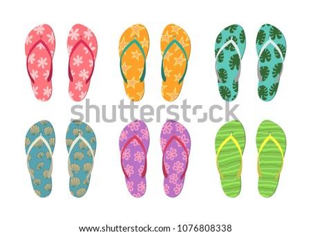 50c399776633 Set of colorful flip flops on white background. Summer vector illustration.
