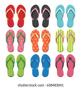 Set of colorful flip flops. Vector Illustration. Summer Collection, Beach Party, Swim Wear, Women's Fashion, Style