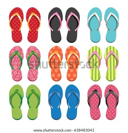 d335089a518 Set Colorful Flip Flops Vector Illustration Stock Vector (Royalty ...