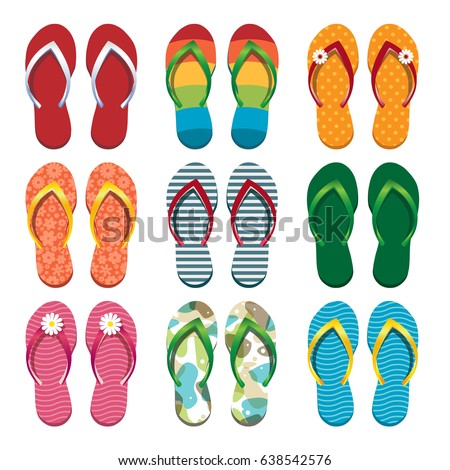 b715fb3392cd Set Colorful Flip Flops Vector Illustration Stock Vector (Royalty ...
