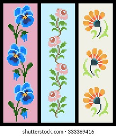 set of colorful floral bookmark like cross-stitch embroidery