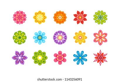 Set of colorful flowers isolated on white background. Vector bright illustration in flat style. Icon, sticker, template for design.