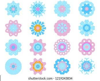 Set of colorful flowers isolated on white background. Vector EPS 10 illustration in flat style. Icon, sticker, template for design.