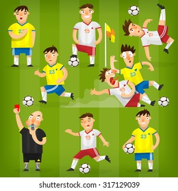 Set of colorful football players on different positions playing soccer on a green field