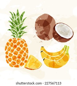 Set of colorful fresh fruit stains. Vector