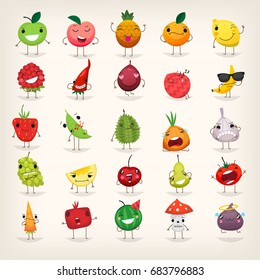 Set of colorful fruit characters with cool and happy faces. Fruit and food emoticons.