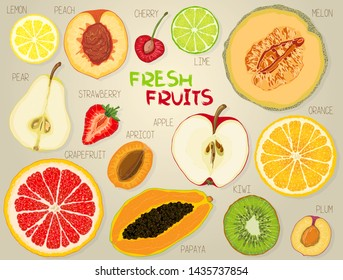A set of colorful fruit slices: apple, pear, peach, apricot, plum, cherry, kiwi, papaya, orange, lemon, lime, grapefruit, melon, strawberry. Vector illustration, isolated objects.