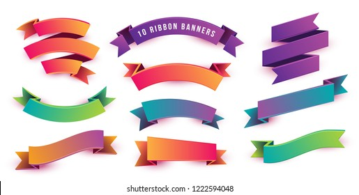 Set of Colorful and Fun Ribbon Banners