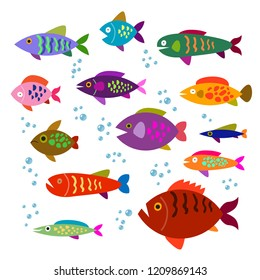 Set of colorful, funny, different  cartoon fishes