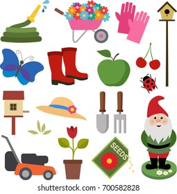A set of colorful gardening icons