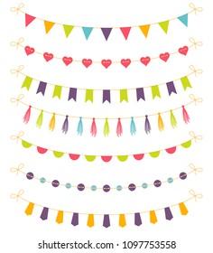 Set of colorful garlands, vector illustration