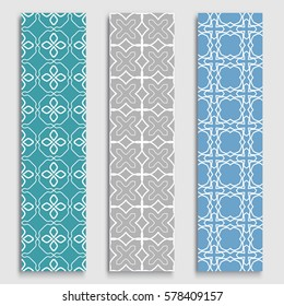 Set of colorful geometric line borders seamless patterns. Tribal ethnic arabic, indian, turkish decorative ornament, fashion collection. Isolated design elements for headline, banner, flyer, card