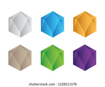 A set of colorful geometric shapes with 3D effect on white background vector illustration