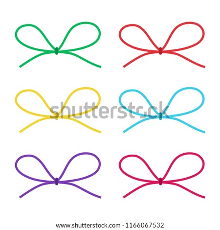 set colorful gift bow silhouette template stock vector royalty free