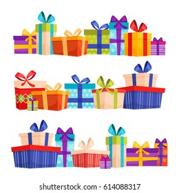 Set of colorful gift boxes with bows and ribbons. Gifts set in a row. Present box icons set in modern flat style. Vector illustration
