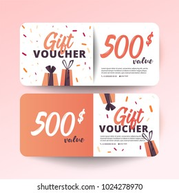 Set of colorful gift vouchers with gifts on white background. Modern flat style vector illustration.