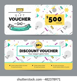 Set of colorful gift vouchers in retro 80s, 90s memphis style. certificate for a holiday.  modern, hipster, youth style. Vector illustration