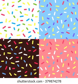Set of  Colorful Glaze Backgrounds. Vector Seamless Pattern with Sprinkles. Donut Glaze Illustrations. Sweet Food Texture. Random Confetti Bg.