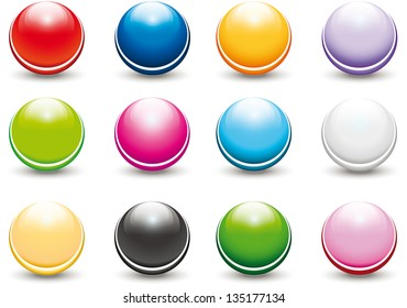 set of colorful glossy buttons in the shape of a sphere