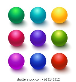 Set of colorful glossy spheres isolated on white. Vector illustration for your design.