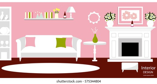 Christmas Vector Living Room Interior Fireplace Stock Vector ...