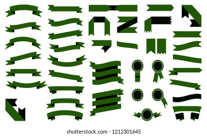 Set of Colorful Green Ribbons.Elements For Your Design Vector Illustration