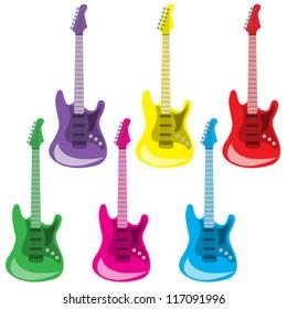 Set of colorful guitars