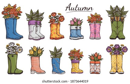 Set of colorful gumboots or garden wellies with leaves and flowers inside, hand drawn vector illustration isolated on white background. Seasonal rain boots collection.