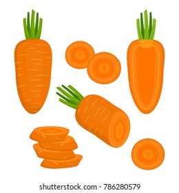 set of colorful half, slice and whole of carrot, fresh juicy vegetables isolated on white background