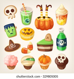 Set of colorful halloween party snacks and treats for children. Isolated sweets, cakes, muffins and cookies.