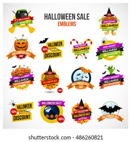 Set of colorful Halloween sale or special discount offer emblems, logos and labels with pumpkins, spiders, bats, zombies, autumn leaves and candies isolated.