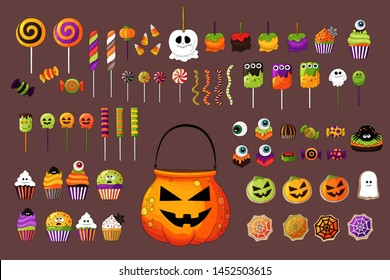 Set of colorful Halloween sweets for children. Vector candies decorated with halloween elements.Colorful delicious collection. Sweets in traditional october holiday colors. Candy bowl, jelly, candies.