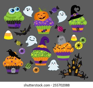Set of colorful halloween sweets, cupcake and candies icons.