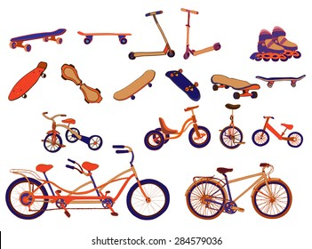 Set of colorful hand drawn bicycles, scooters, skateboards, roller-skates, mono bikes, run bikes, tricycles, tandem bicycles on white background. Vector illustration