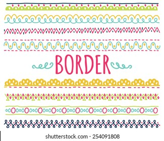 set of colorful hand drawn border