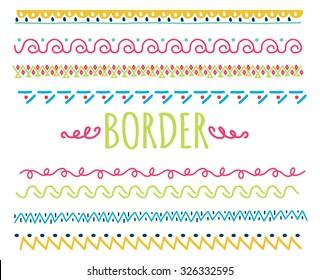 set of colorful hand drawn border