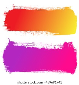 Set of colorful hand drawn brushstrokes vector illustration. Abstract ink grunge banners for design.