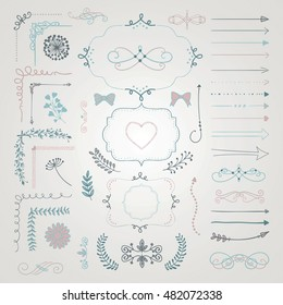 Set of Colorful Hand Drawn Doodle Design Elements. Rustic Decorative Borders, Dividers, Arrows, Swirls, Scrolls, Frames, Corners, Objects Vector Illustration