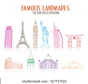 Set of Colorful Hand Drawn Famous and Popular Landmarks for Traveling Isolated in White Background. Vector Illustration