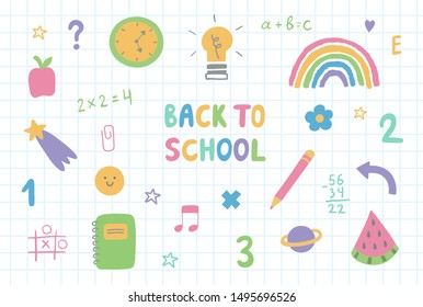 Set of colorful hand drawn school doodle elements,stars,symbols and stationery.Back to school lettering on checkered textbook paper.Funny kids doodle background.Vector clip art web icons