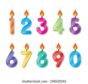 set of colorful happy birthday alphabets candles. vector.