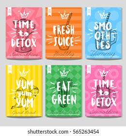 Set colorful healthy food posters. Smoothies, fresh, juice, detox, eat green, yummy, blender, jar, banana. Retro background. Sketch style, labels, hand drawn vector.